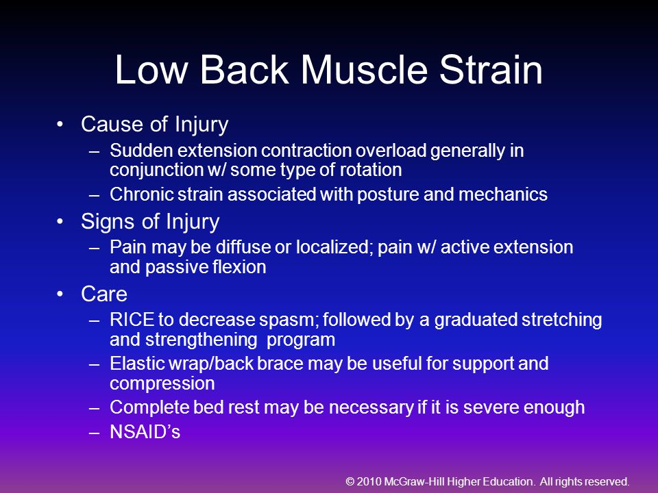 Low Back Muscle Strain Cause of Injury Signs of Injury Care