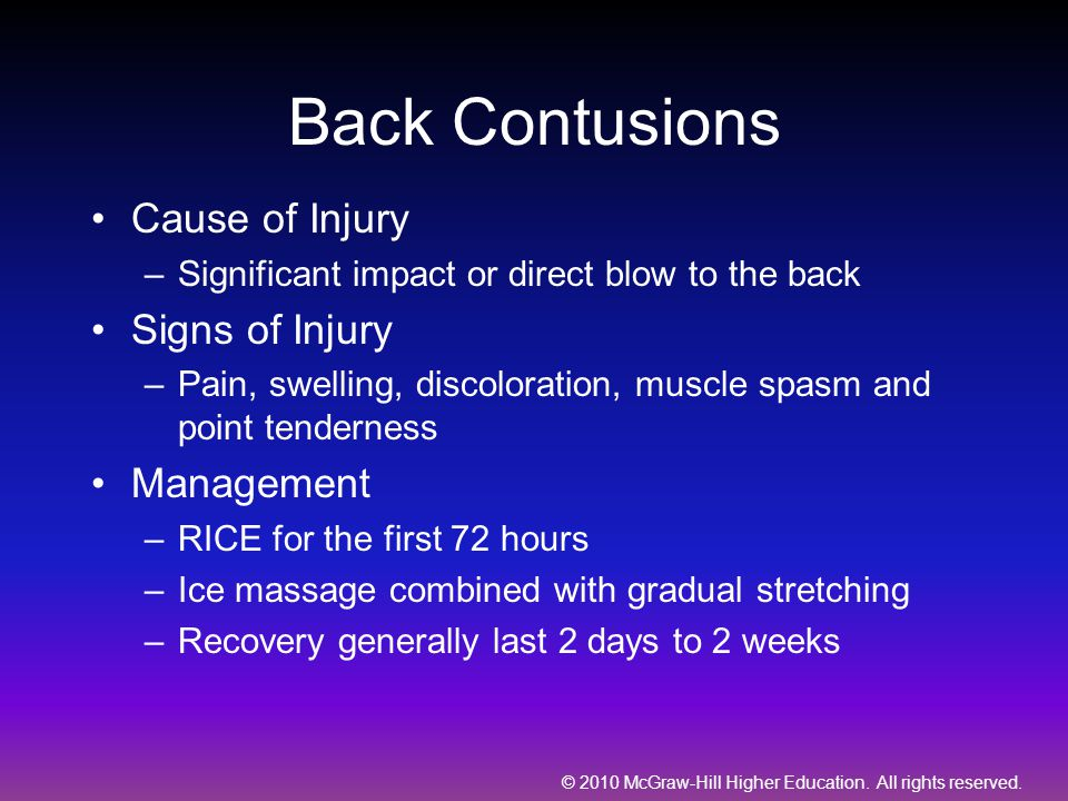 Back Contusions Cause of Injury Signs of Injury Management