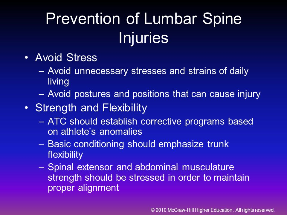 Prevention of Lumbar Spine Injuries