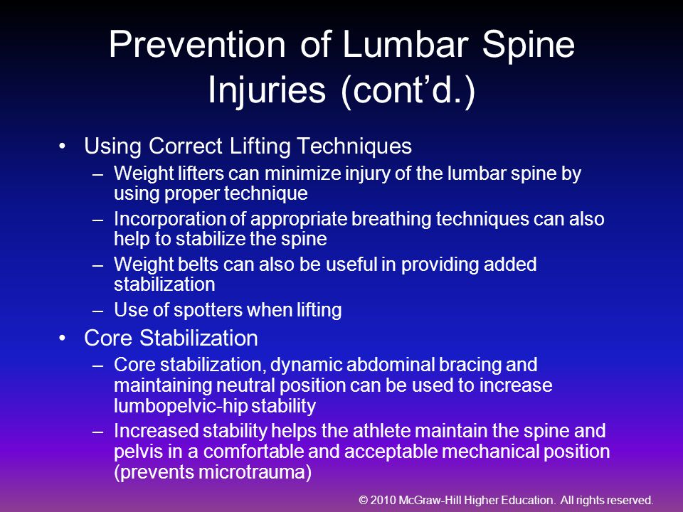 Prevention of Lumbar Spine Injuries (cont'd.)