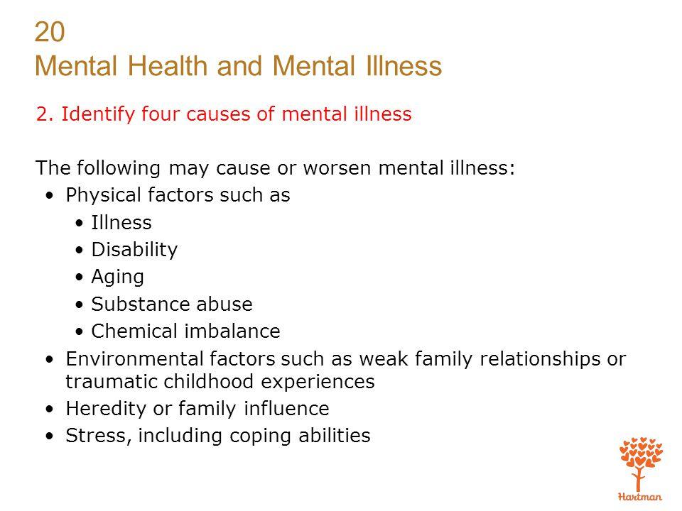 2. Identify four causes of mental illness