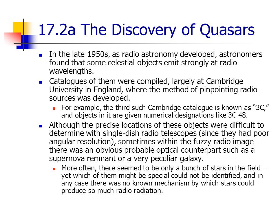 17.2a The Discovery of Quasars