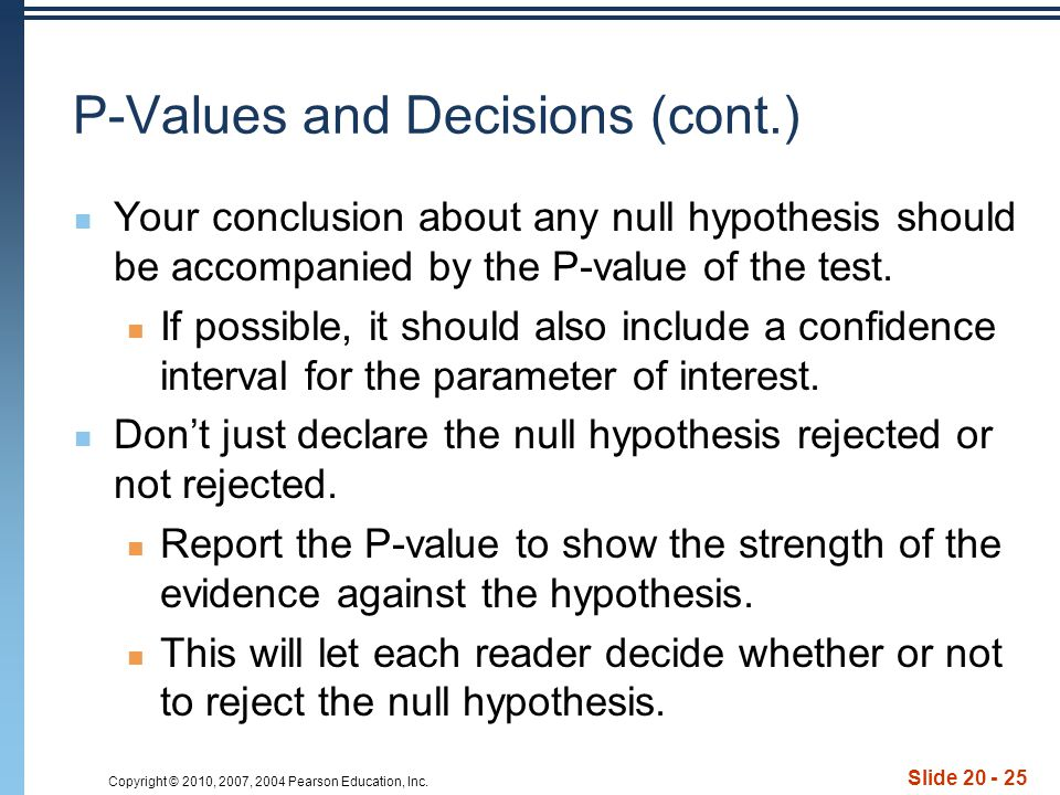 P-Values and Decisions (cont.)