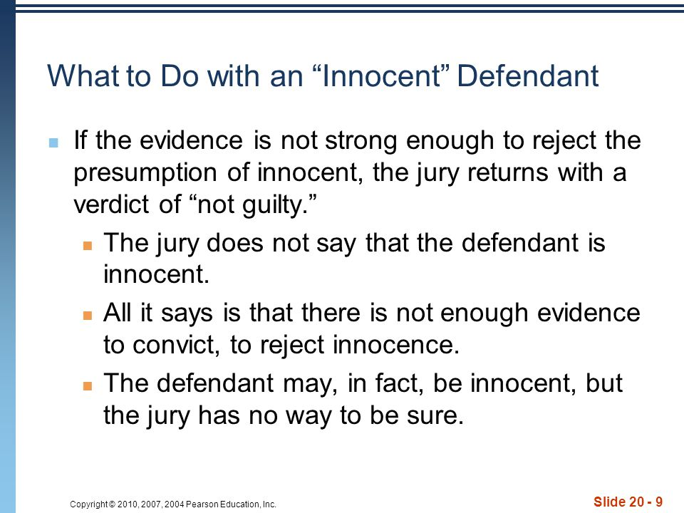 What to Do with an Innocent Defendant