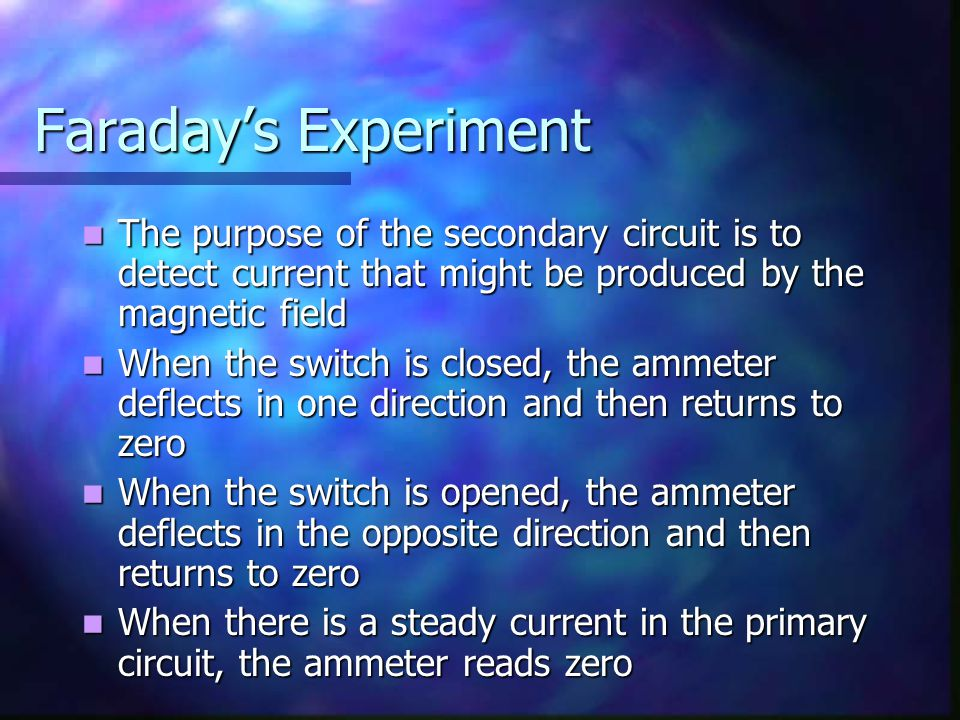 Faraday's Experiment The purpose of the secondary circuit is to detect current that might be produced by the magnetic field.