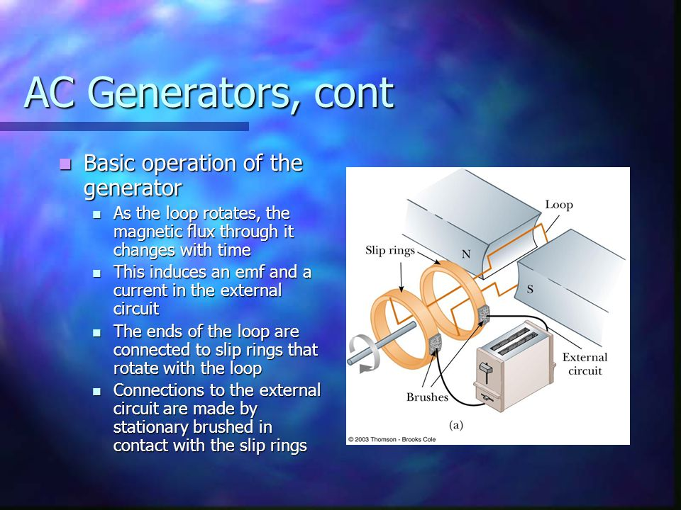 AC Generators, cont Basic operation of the generator