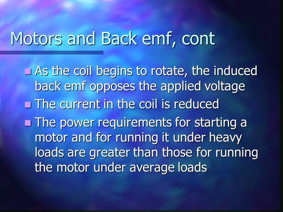 Motors and Back emf, cont