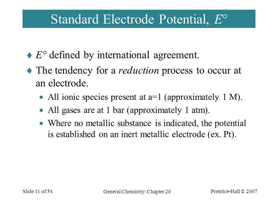Standard Electrode Potential, E°