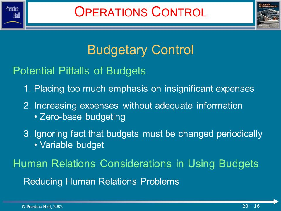 OPERATIONS CONTROL Budgetary Control Potential Pitfalls of Budgets