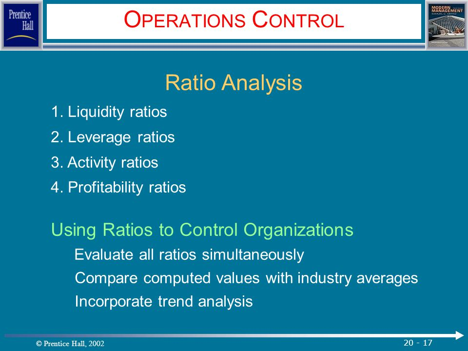OPERATIONS CONTROL Ratio Analysis