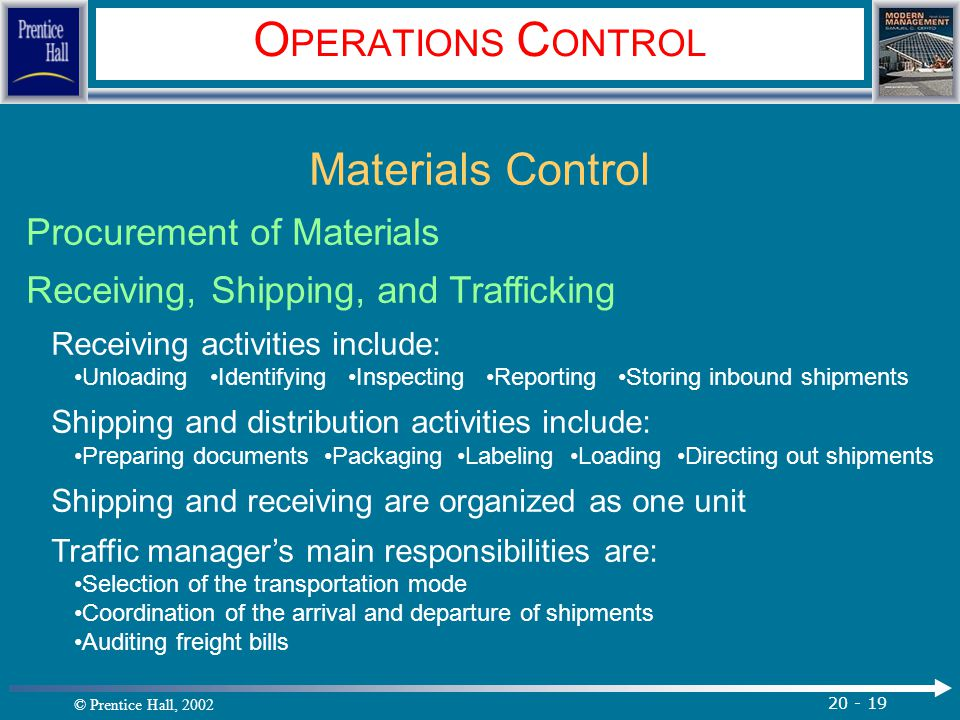 OPERATIONS CONTROL Materials Control Procurement of Materials