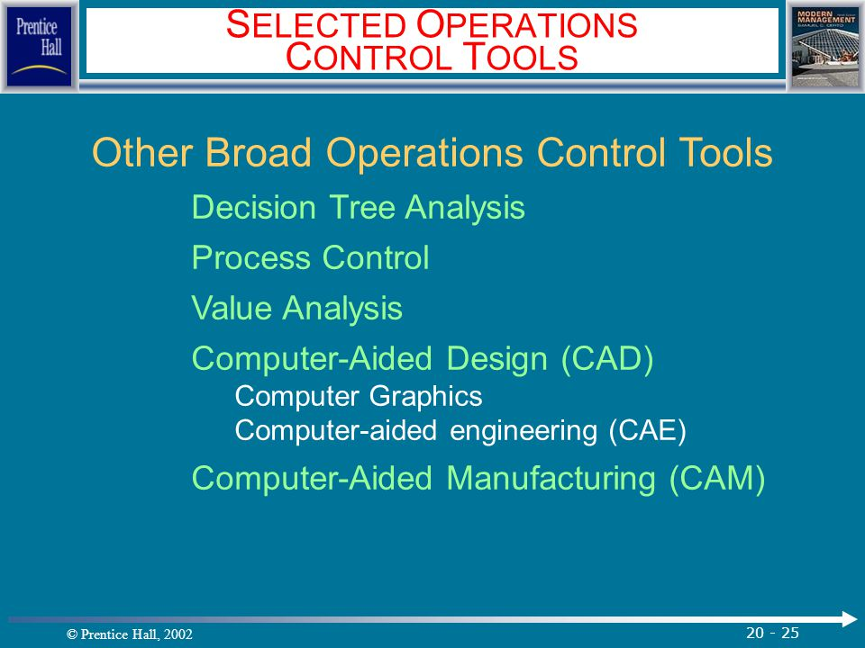 SELECTED OPERATIONS CONTROL TOOLS