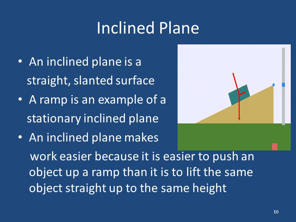 Inclined Plane An inclined plane is a straight, slanted surface