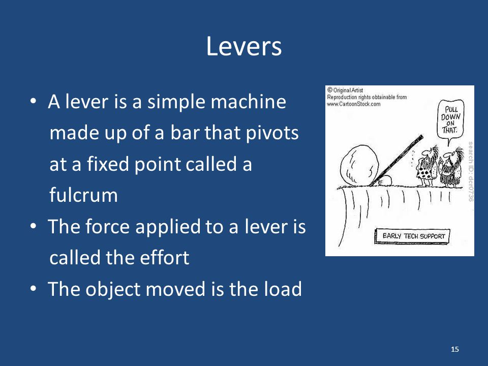 Levers A lever is a simple machine made up of a bar that pivots
