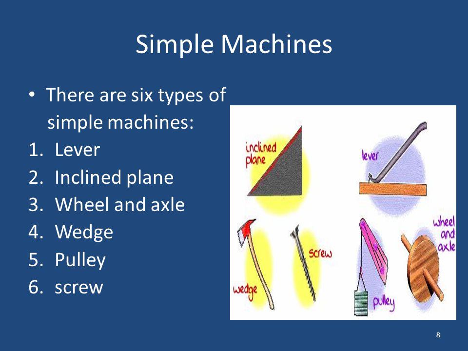 Simple Machines There are six types of simple machines: Lever