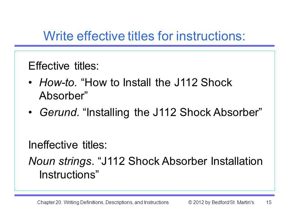 Write effective titles for instructions: