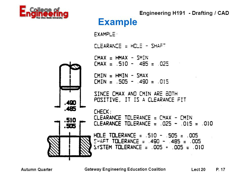 Example Instructor: Here is an example of looking at the tolerance of each part and the fit tolerance.