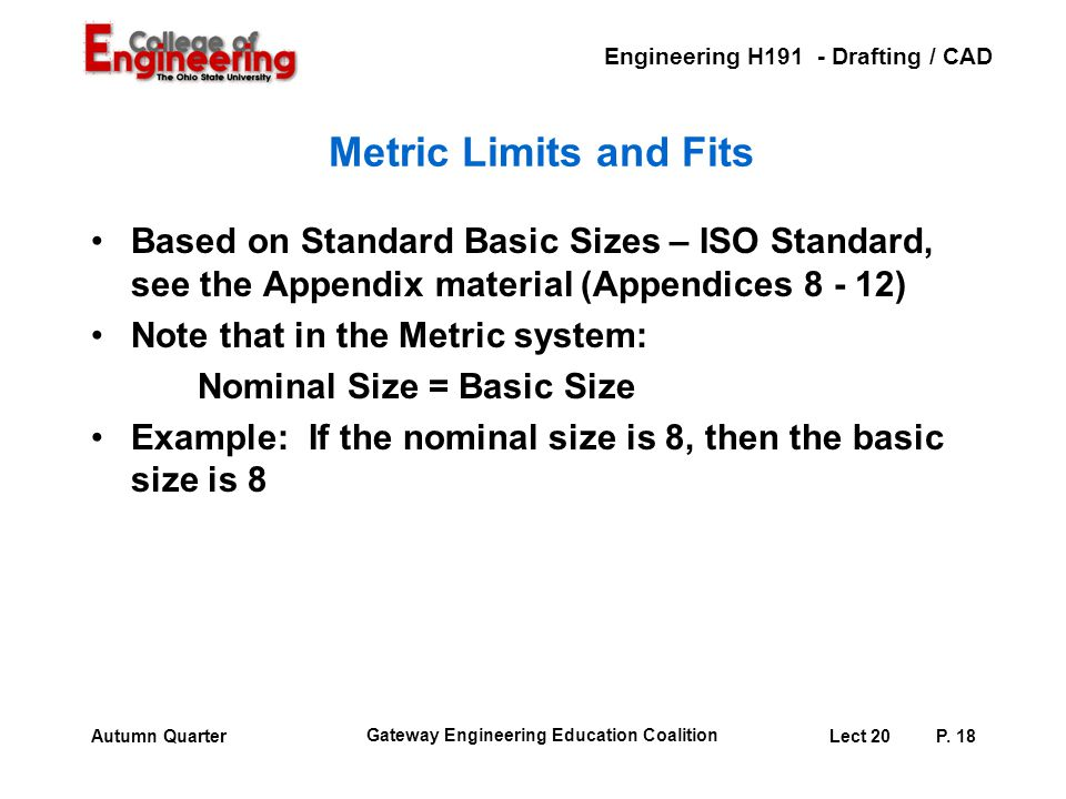 Metric Limits and Fits Based on Standard Basic Sizes – ISO Standard, see the Appendix material (Appendices 8 - 12)
