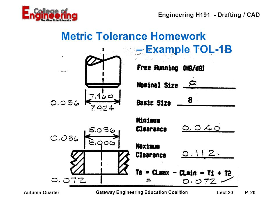 Metric Tolerance Homework – Example TOL-1B