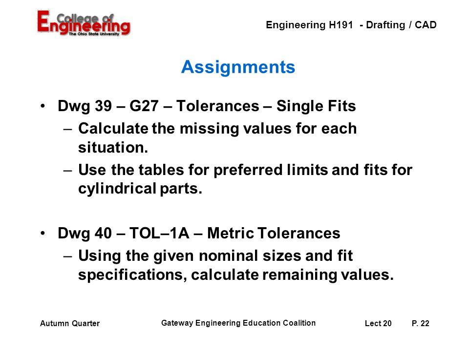 Assignments Dwg 39 – G27 – Tolerances – Single Fits