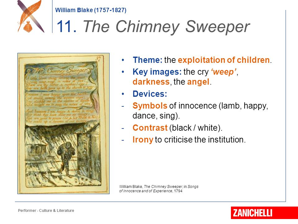 11. The Chimney Sweeper Theme: the exploitation of children.