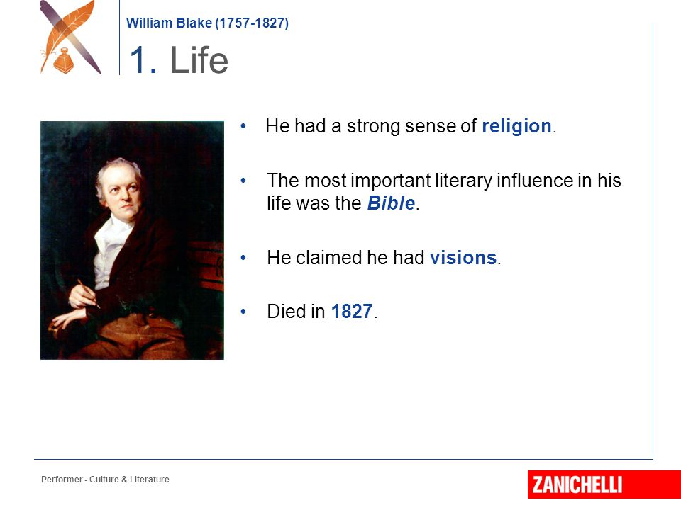 1. Life He had a strong sense of religion.