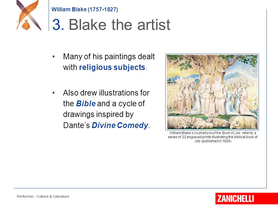 3. Blake the artist Many of his paintings dealt with religious subjects.