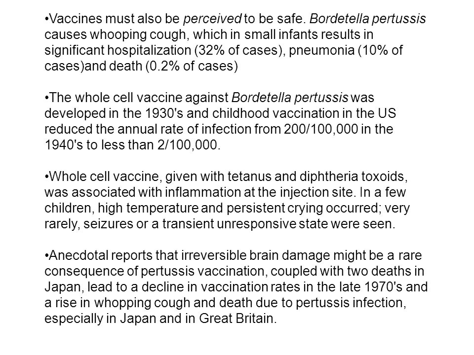 Vaccines must also be perceived to be safe