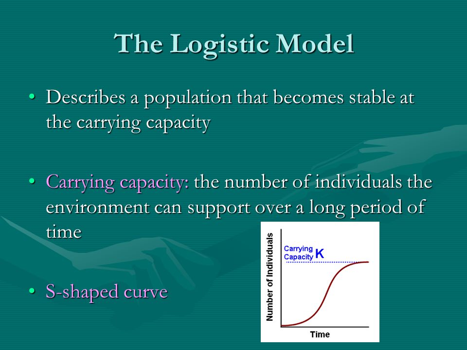 The Logistic Model Describes a population that becomes stable at the carrying capacity.
