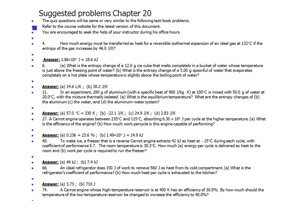 Suggested problems Chapter 20