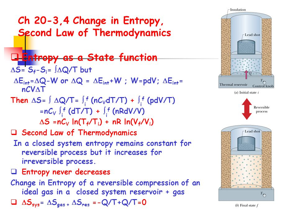 Ch 20-3,4 Change in Entropy, Second Law of Thermodynamics