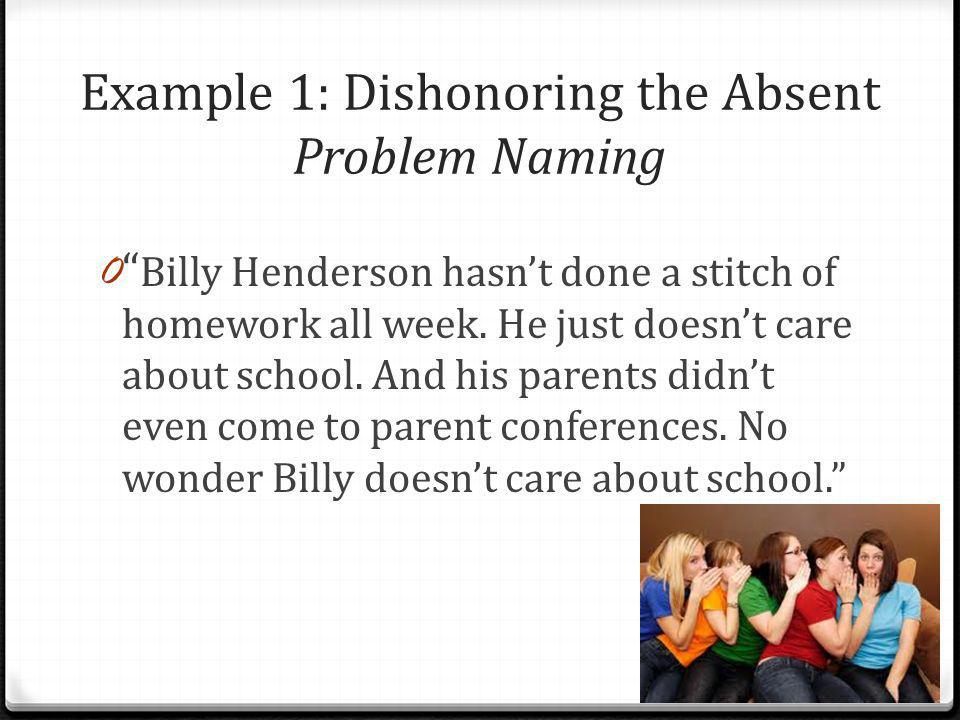 Example 1: Dishonoring the Absent Problem Naming
