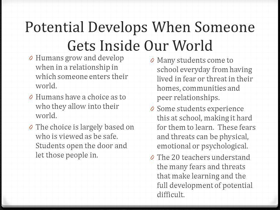 Potential Develops When Someone Gets Inside Our World