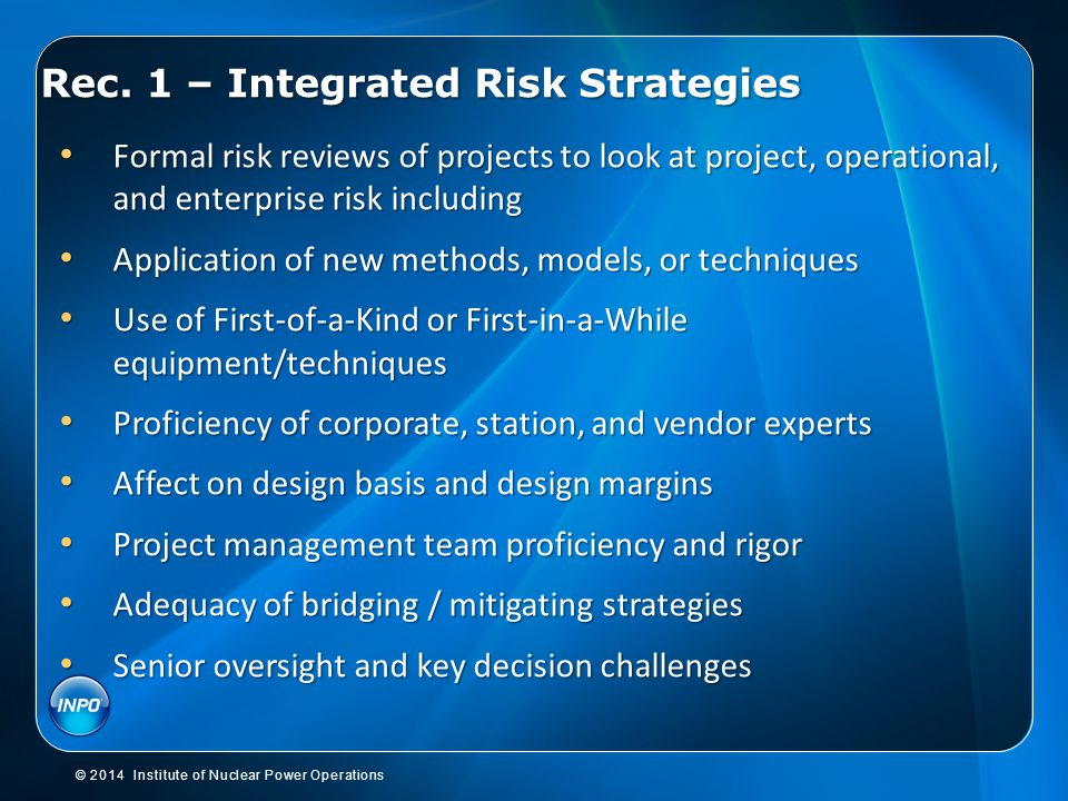 Rec. 1 – Integrated Risk Strategies