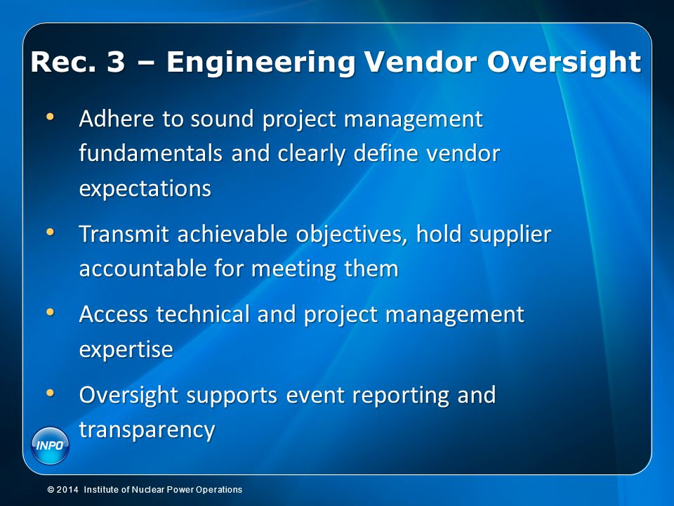 Rec. 3 – Engineering Vendor Oversight