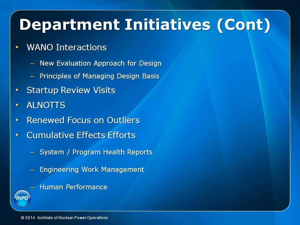 Department Initiatives (Cont)