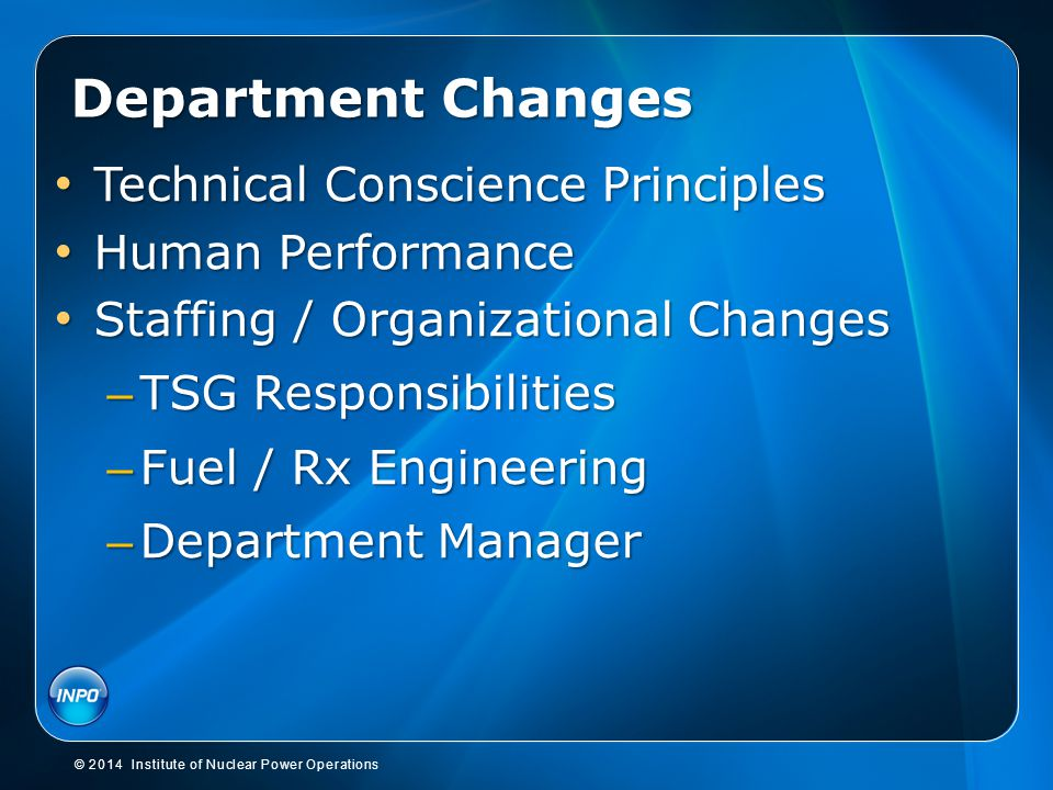 Department Changes Technical Conscience Principles Human Performance