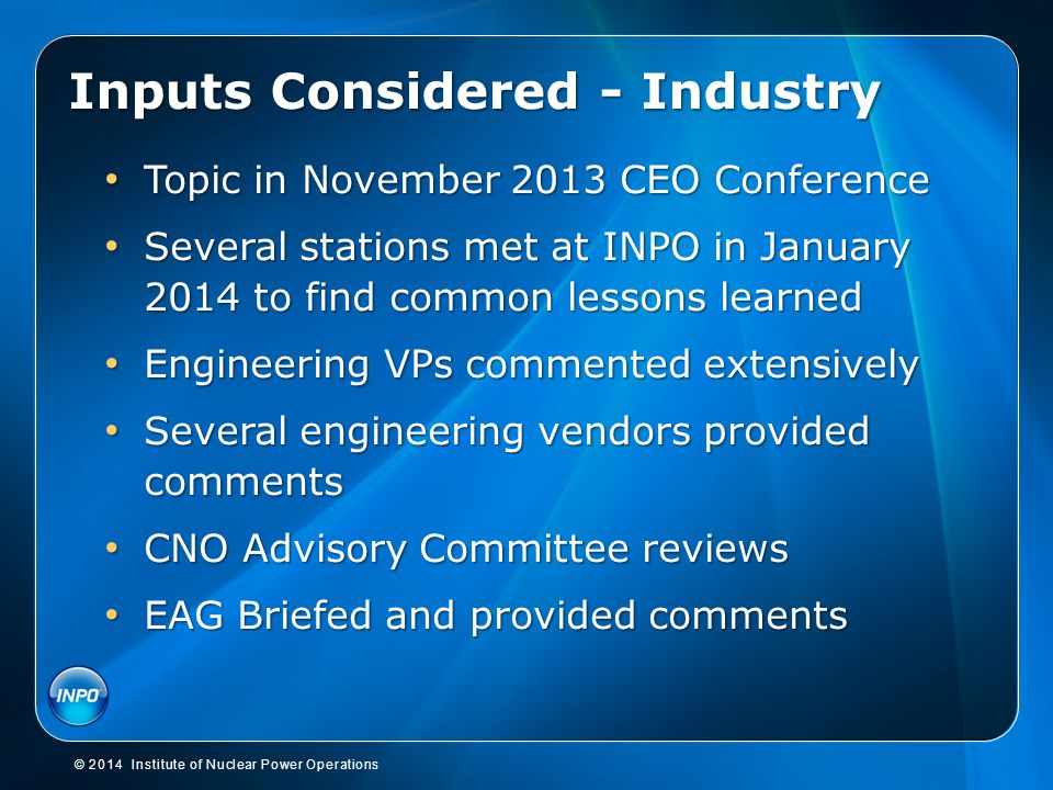 Inputs Considered - Industry