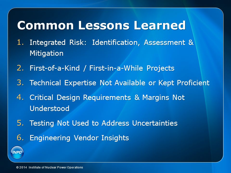 Common Lessons Learned