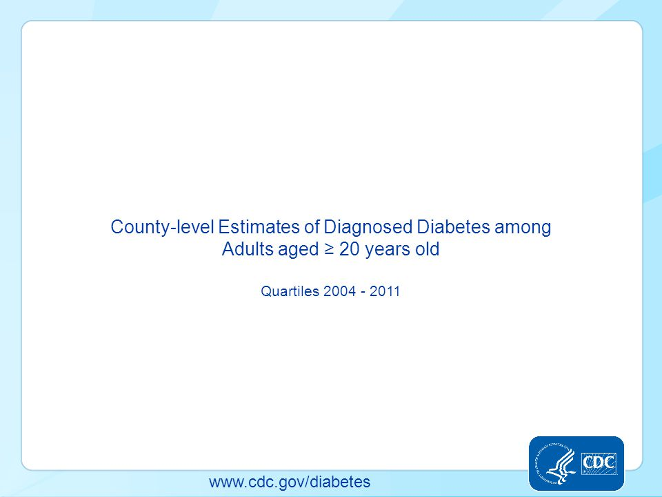 County-level Estimates of Diagnosed Diabetes among Adults aged ≥ 20 years old Quartiles 2004 - 2011