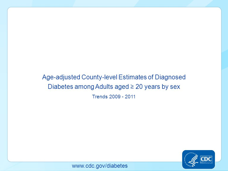 Age-adjusted County-level Estimates of Diagnosed Diabetes among Adults aged ≥ 20 years by sex Trends 2009 - 2011