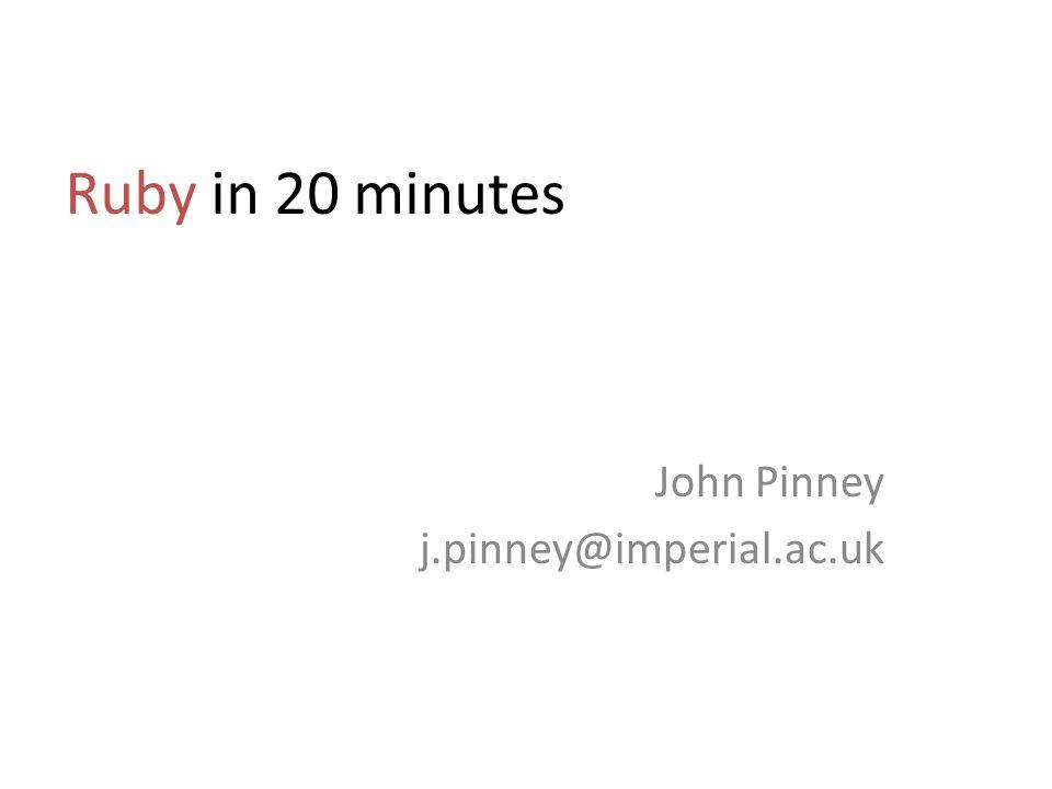 John Pinney j.pinney@imperial.ac.uk
