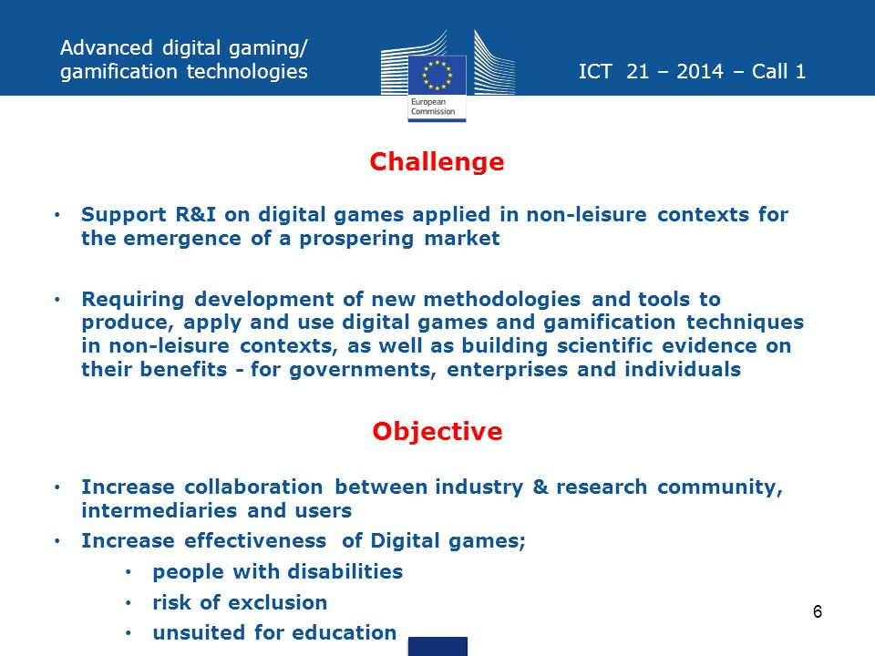 Challenge Objective Advanced digital gaming/