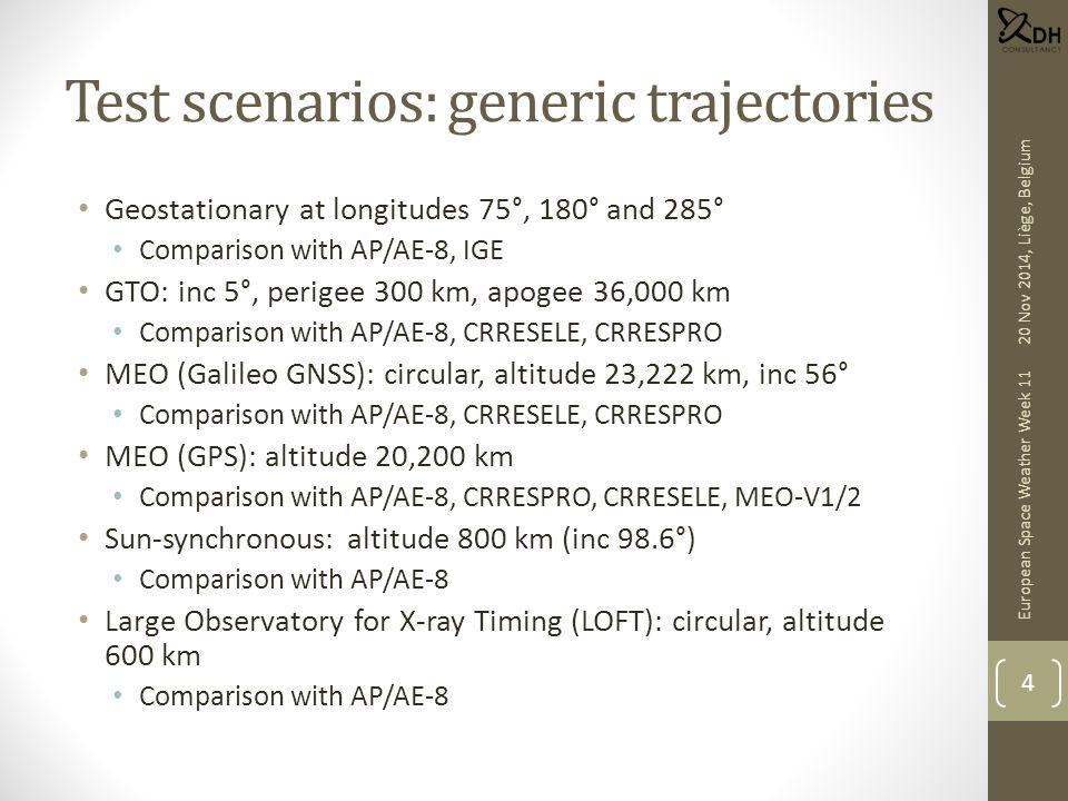 Test scenarios: generic trajectories