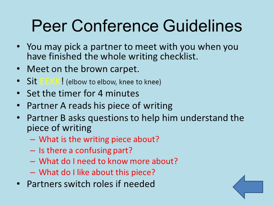 Peer Conference Guidelines