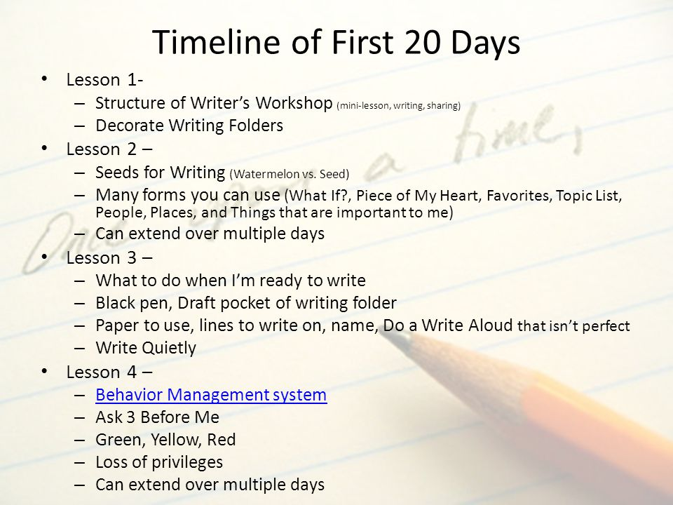 Timeline of First 20 Days Lesson 1- Lesson 2 – Lesson 3 – Lesson 4 –