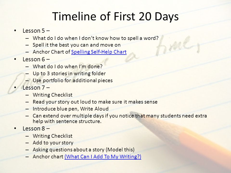 Timeline of First 20 Days Lesson 5 – Lesson 6 – Lesson 7 – Lesson 8 –
