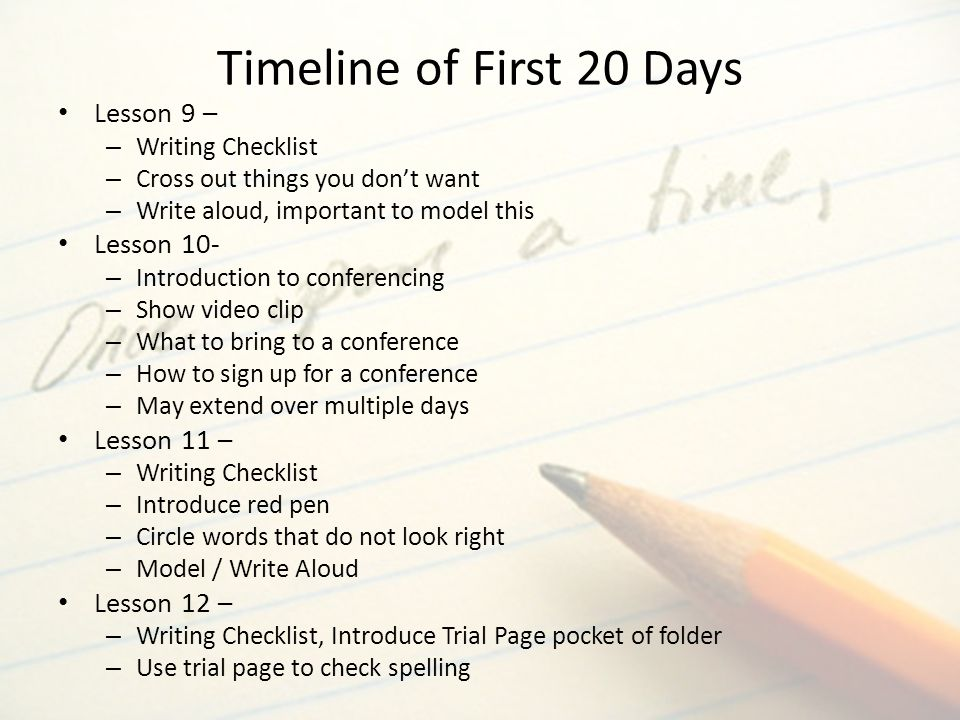 Timeline of First 20 Days Lesson 9 – Lesson 10- Lesson 11 –