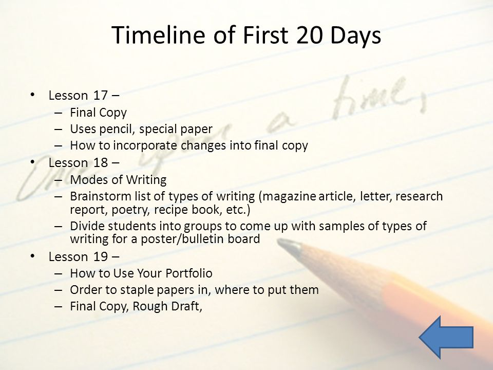Timeline of First 20 Days Lesson 17 – Lesson 18 – Lesson 19 –