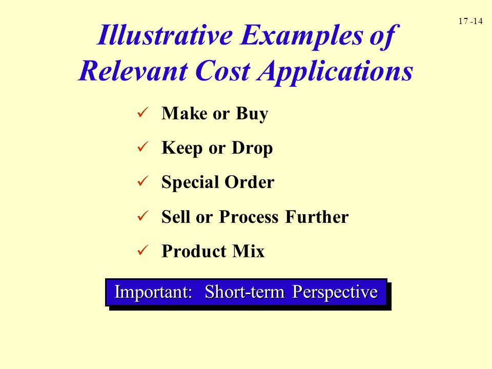 Illustrative Examples of Relevant Cost Applications